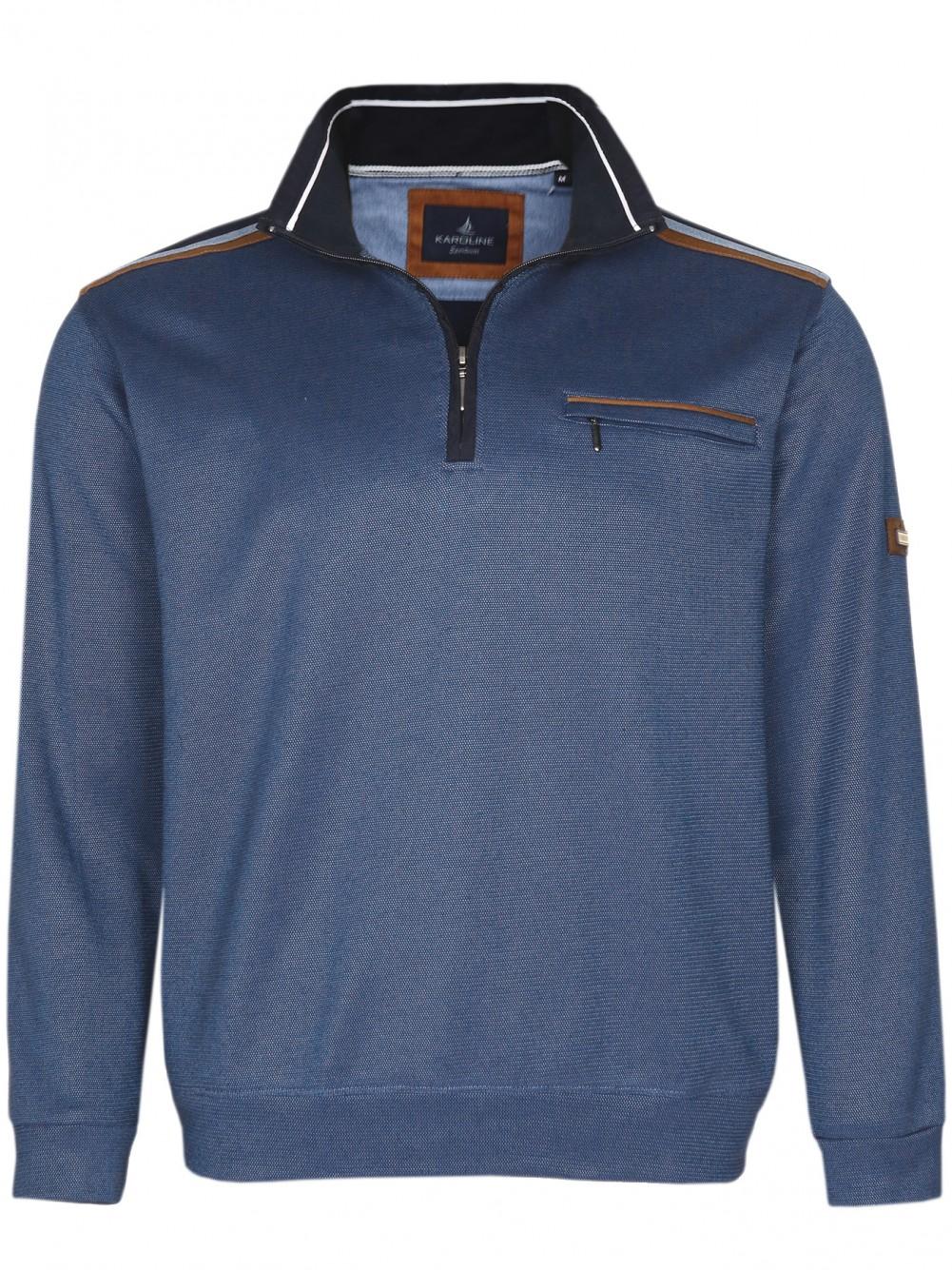 Herren Baumwoll-Piqué Polo-Shirt in Blouson-Form - Dunkelblau