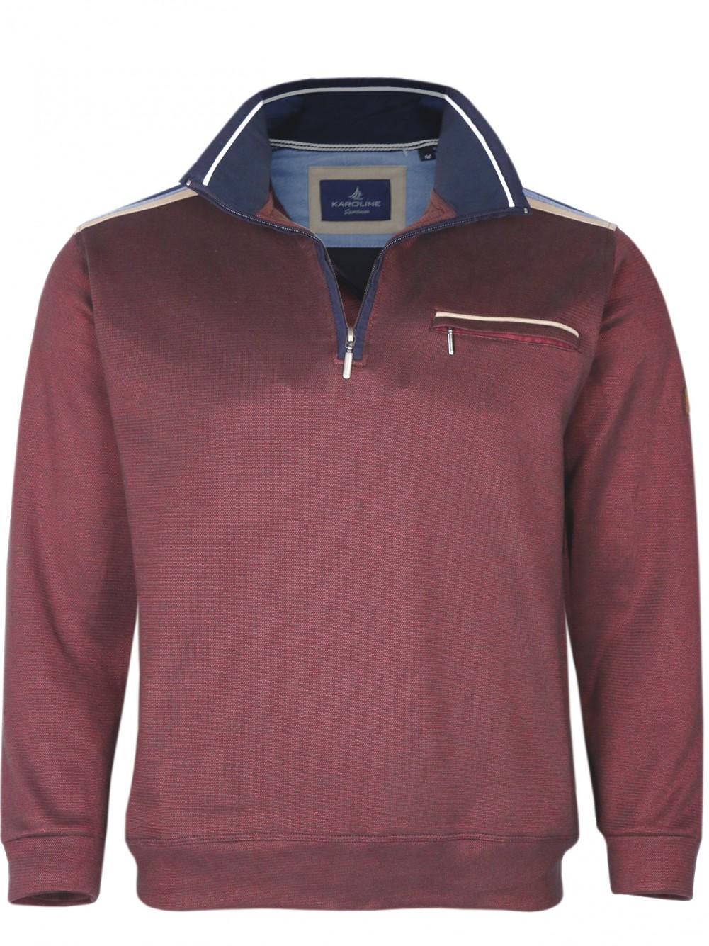 Herren Baumwoll-Piqué Polo-Shirt in Blouson-Form - Weinrot