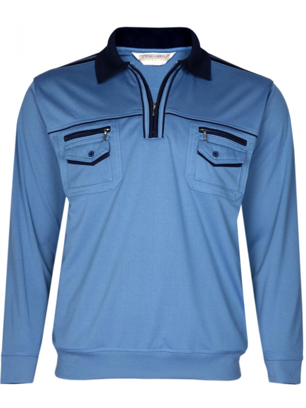 Langarmshirts, Herren Blousonshirt in bügelfreier Qualität - Stahlblau