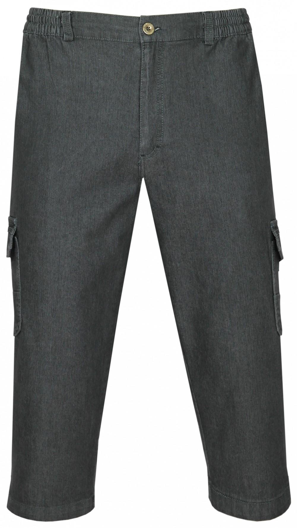 Herren Stretch Jeans Bermudas mit Dehnbund - Schwarz
