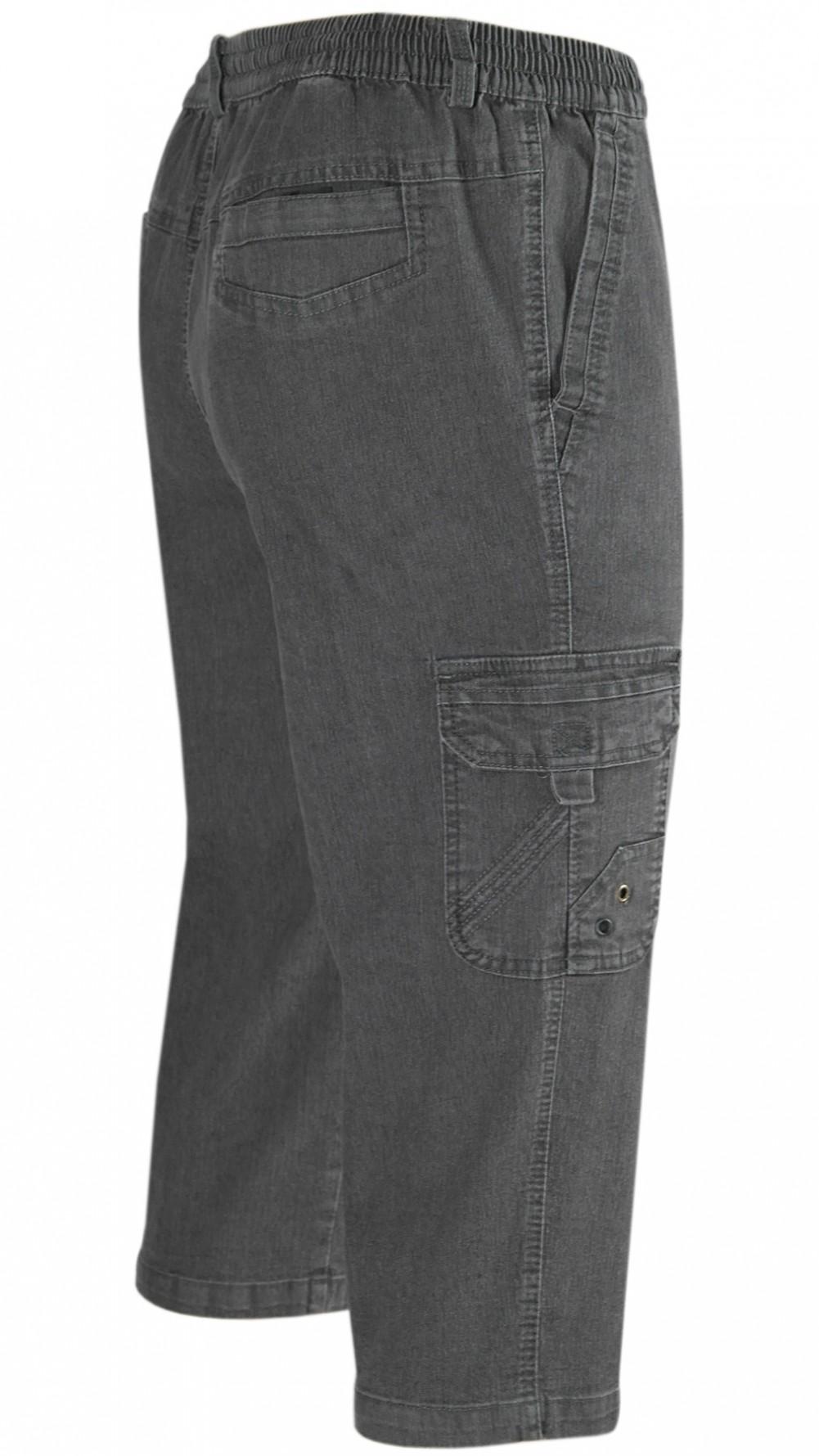 Herren Stretch Jeans Bermudas mit Dehnbund - Grau