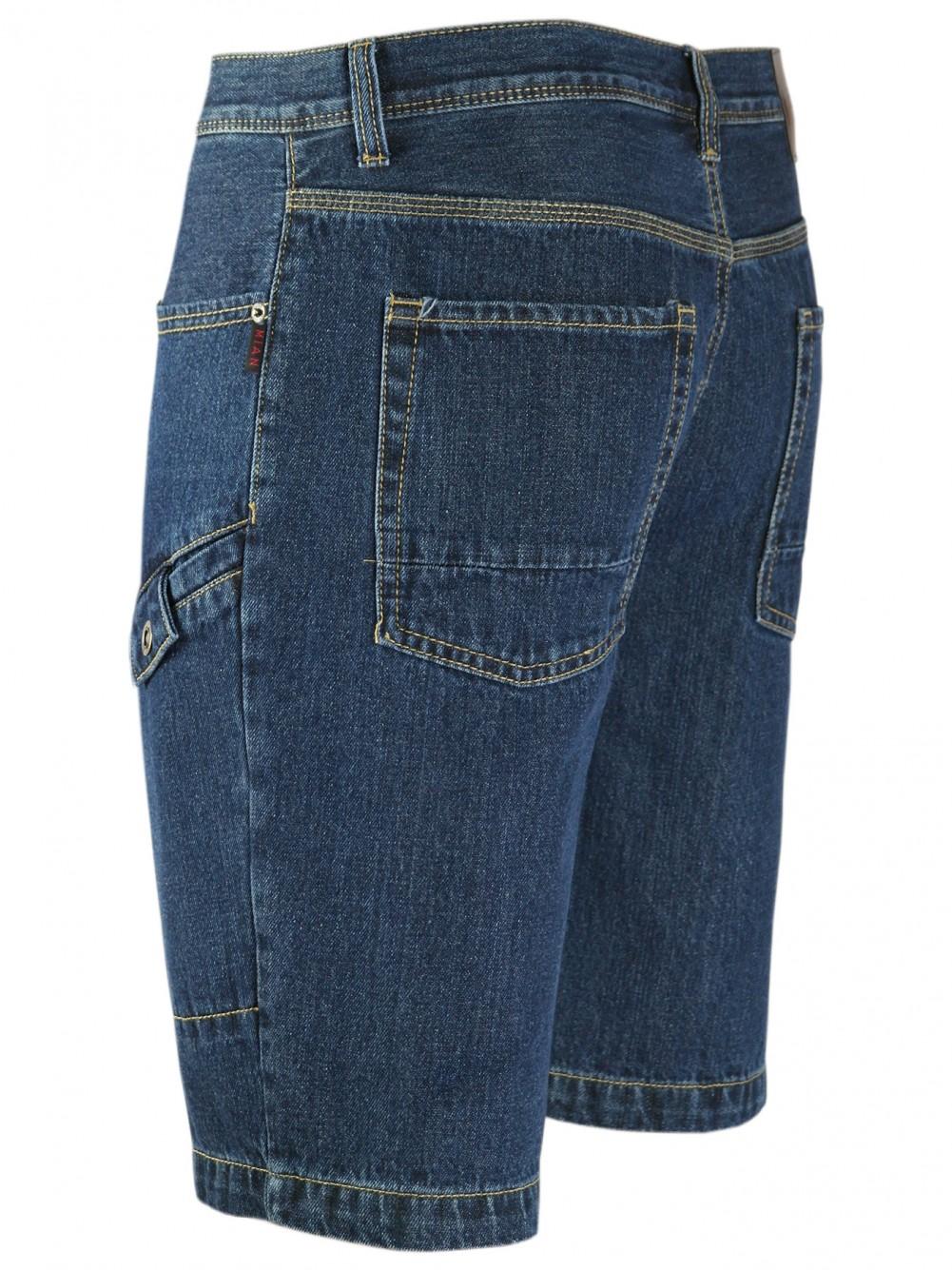 MIAN Denim Herren Shorts Jeans-Shorts 100% Baumwolle DarkBlue/Seitenansicht