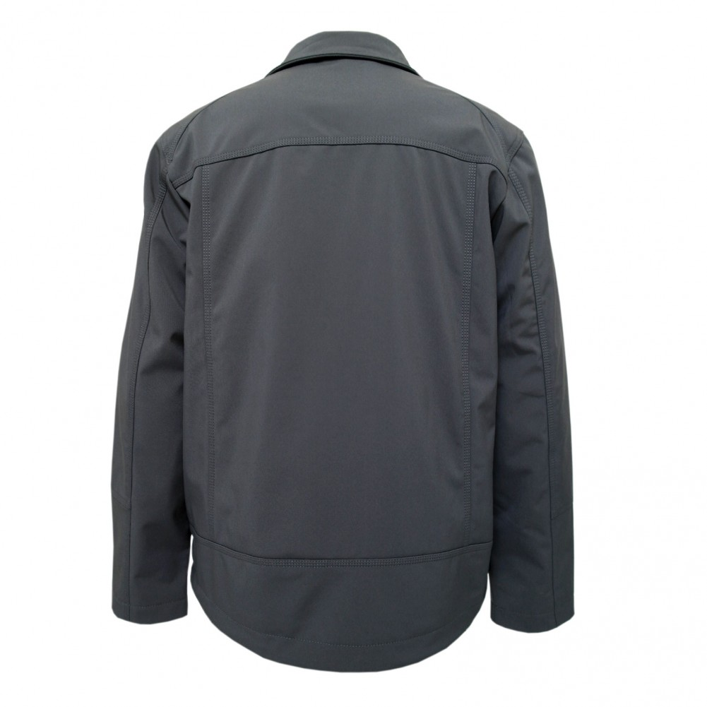 MIAN Softshell- Outdoor Jacke, Übergangsjacke, Sommerjacke Taillenlang Grau Hinteransicht