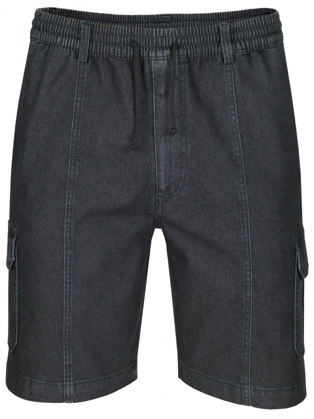 Herren Stretch Jeans-Shorts mit Schlupfbund - Schwarz