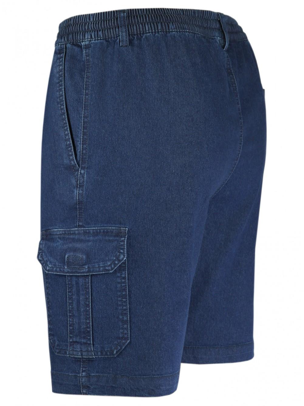 Herren Stretch Jeans-Shorts mit Schlupfbund - DarkBlue/Seitenansicht