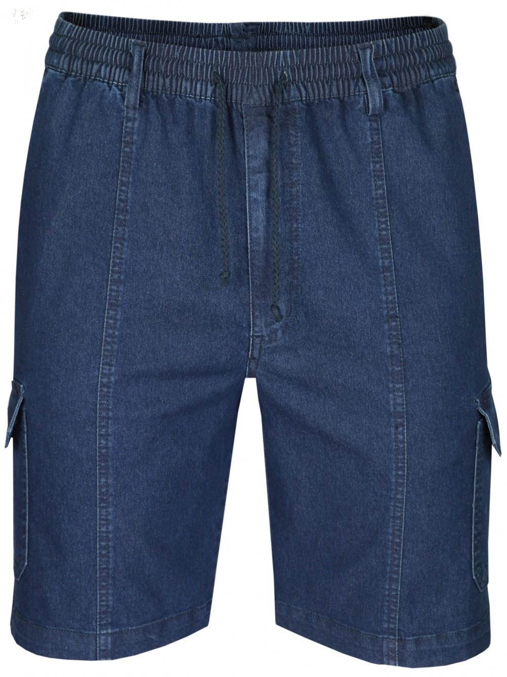 Herren Stretch Jeans-Shorts mit Schlupfbund - DarkBlue