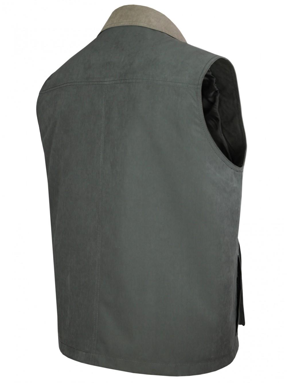 Herren Weste Outdoor Funktions-Weste Multi Taschen Oliv/Hinteransicht