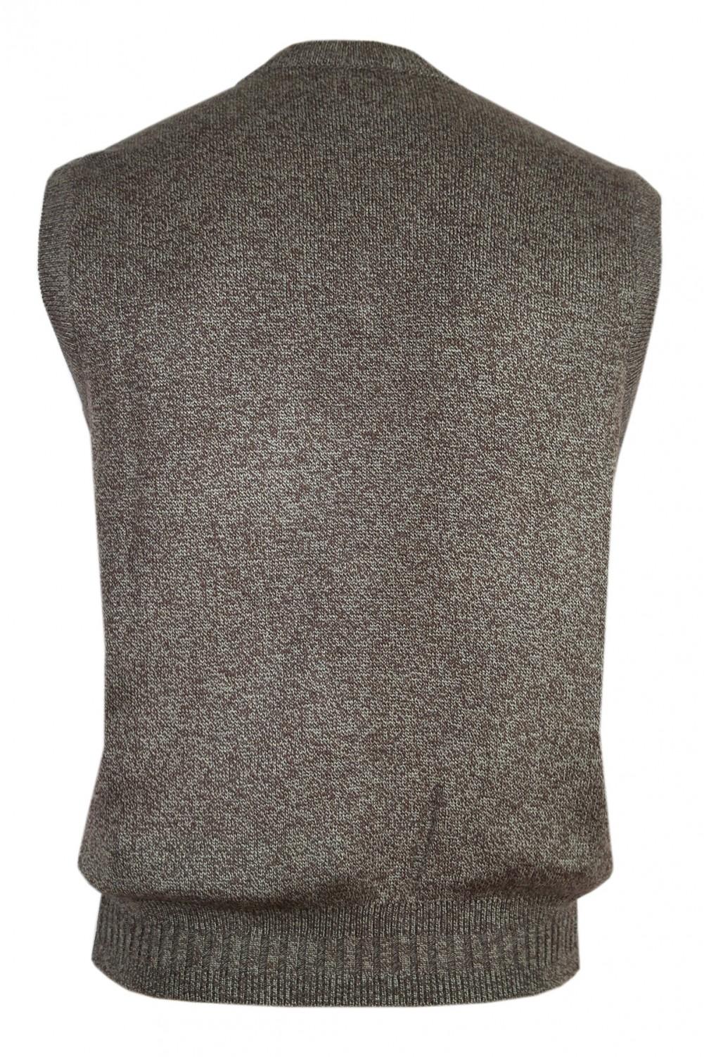 Herren Pullunder, Pullover ohne Ärmel - Braun/Hinteransicht