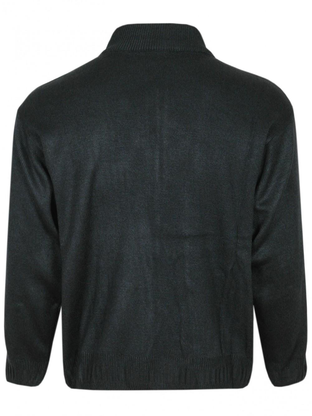 Herren Strickjacke melierter Cardigan mit Zipper und Stehkragen - Black/Hinteransicht