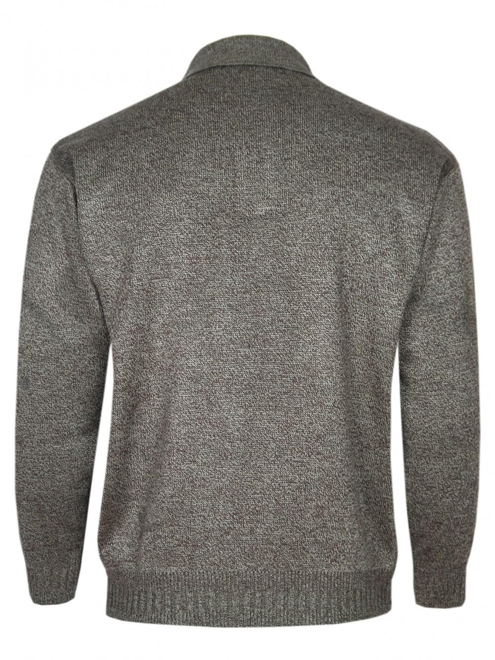 Herren Polo-Pullover mit kurzer Knopfleiste - Braun/Hinteransicht