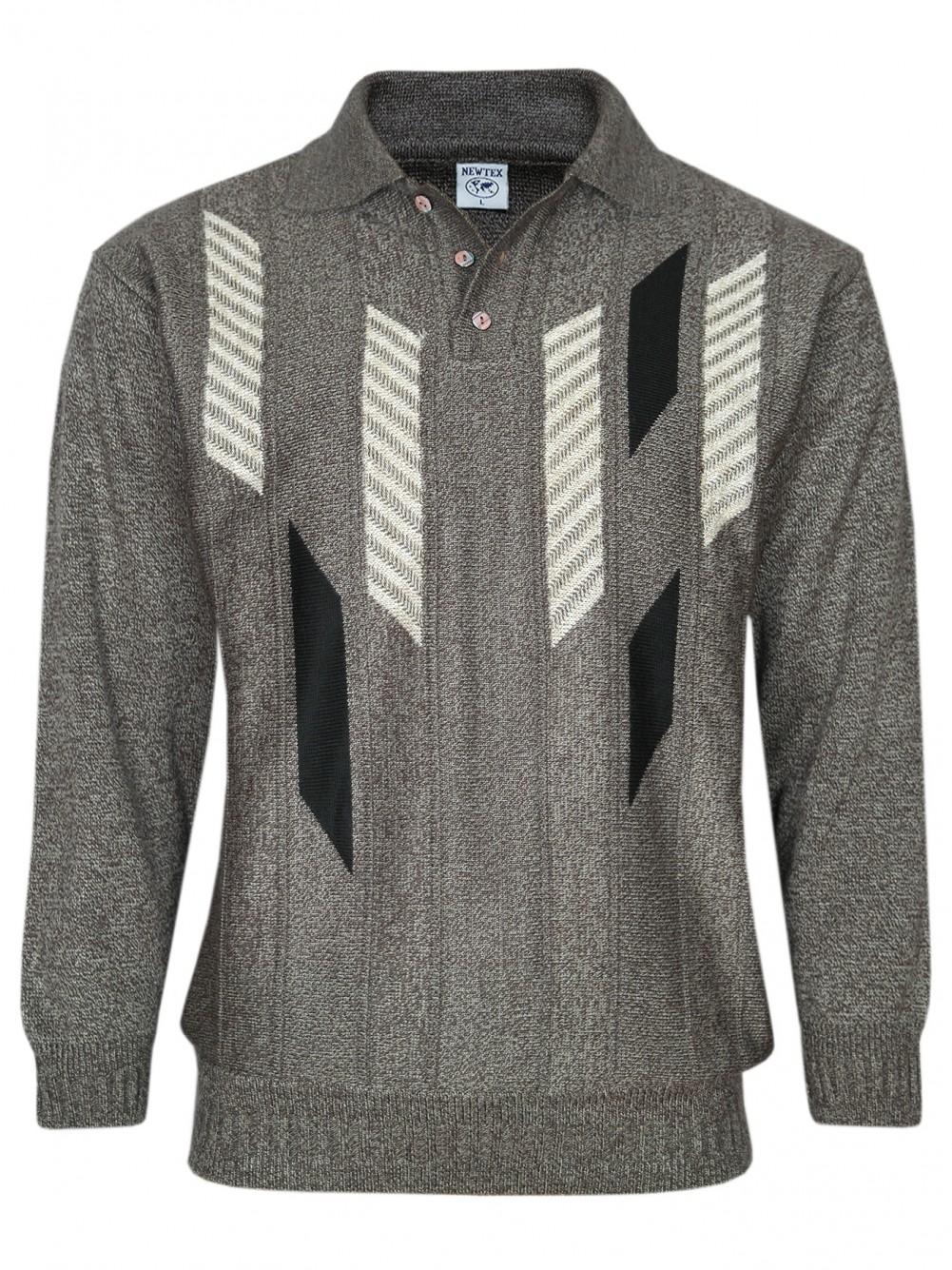 Herren Polo-Pullover mit kurzer Knopfleiste - Braun