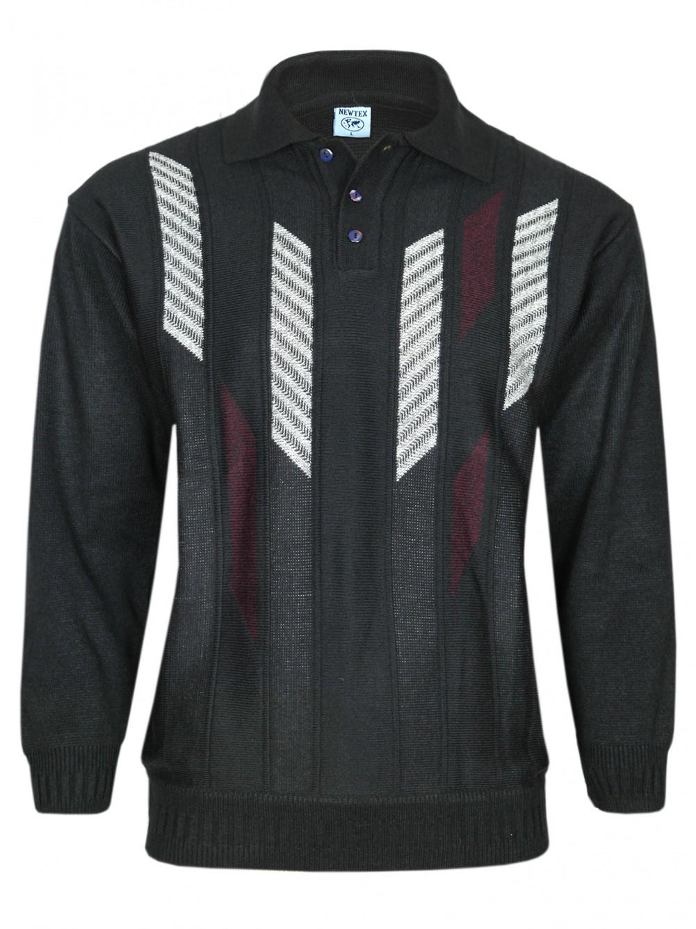 Herren Polo-Pullover mit kurzer Knopfleiste - Schwarz