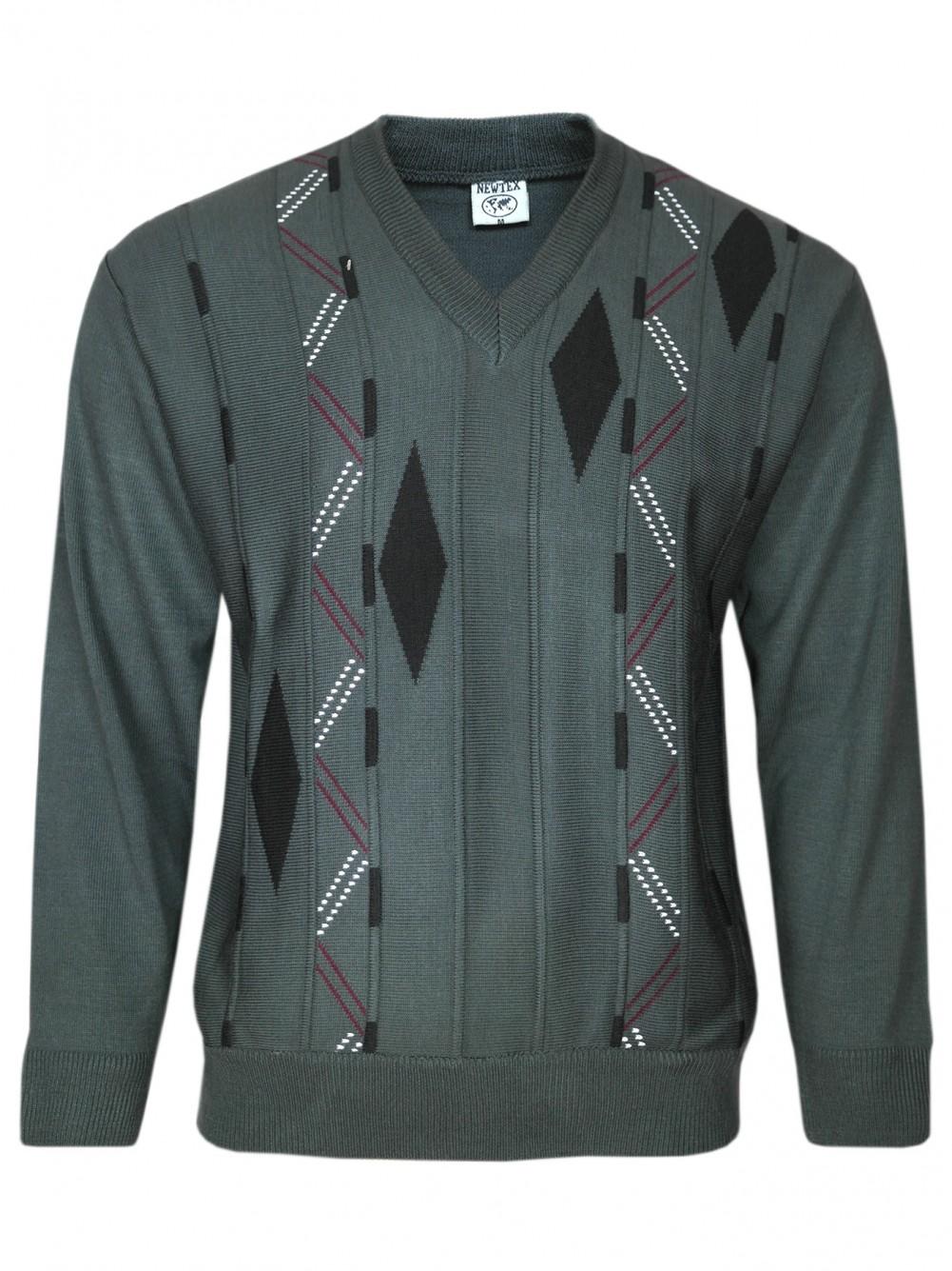 V-Ausschnitt-Pullover Langarm Herren Pullover - Anthrazit