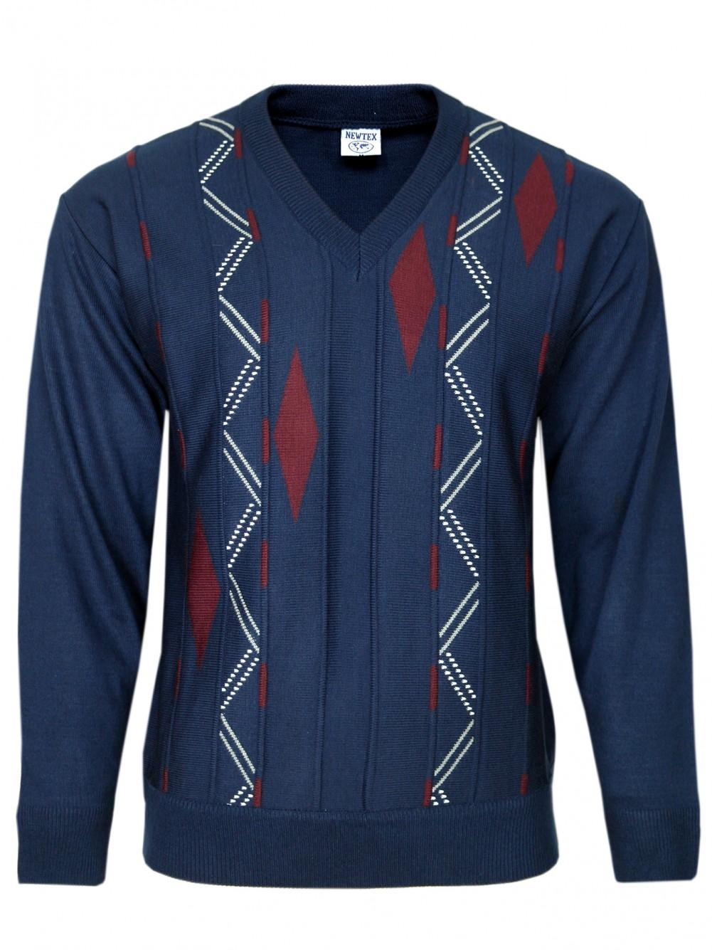 V-Ausschnitt-Pullover Langarm Herren Pullover - Navy