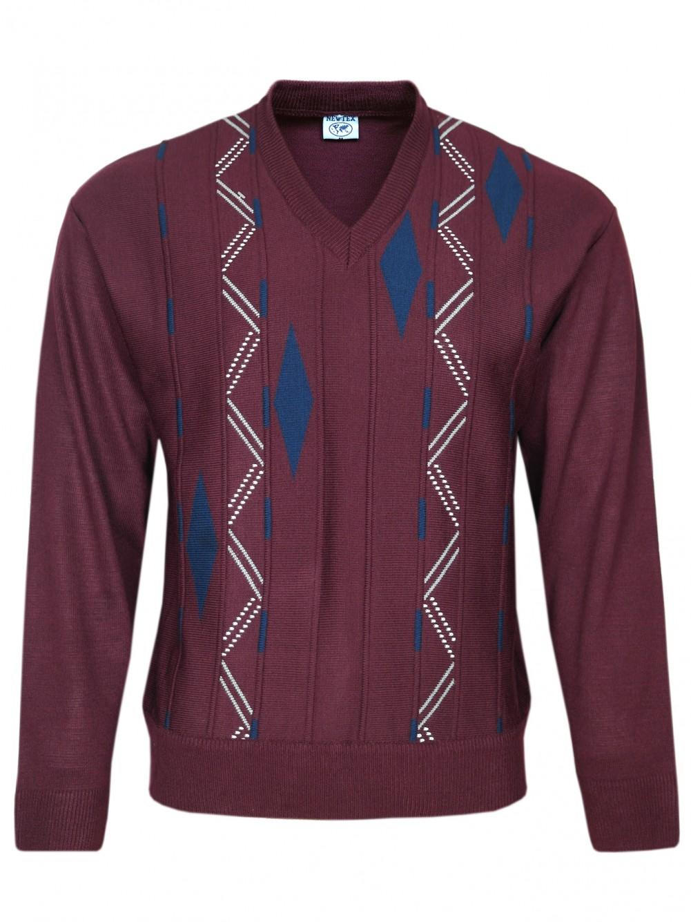 V-Ausschnitt-Pullover Langarm Herren Pullover - Weinrot