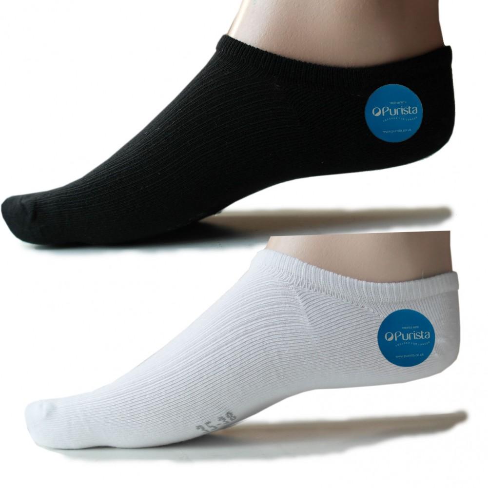 Antibakterielle offene Füßlinge Socken für Damen & Herren schwarz weiss - Mehr ansicht
