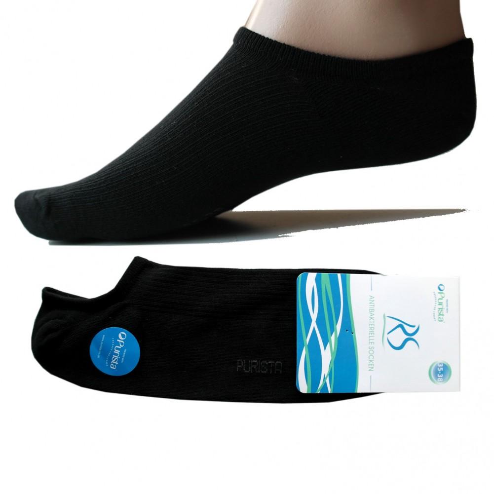Antibakterielle offene Füßlinge Socken für Damen & Herren - schwarz