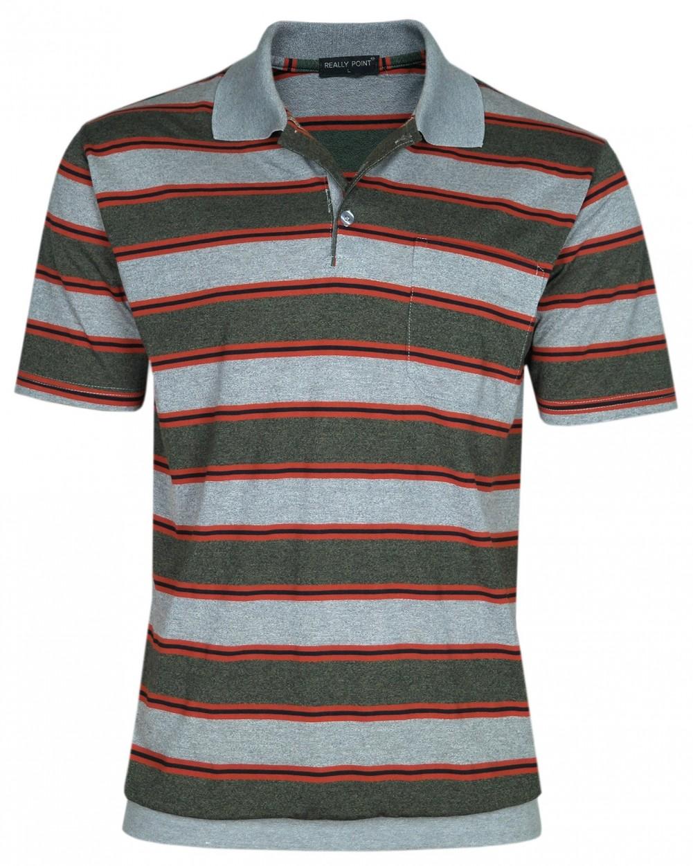Jersey Blousonshirts im Ringeln-Look - Grau-olive