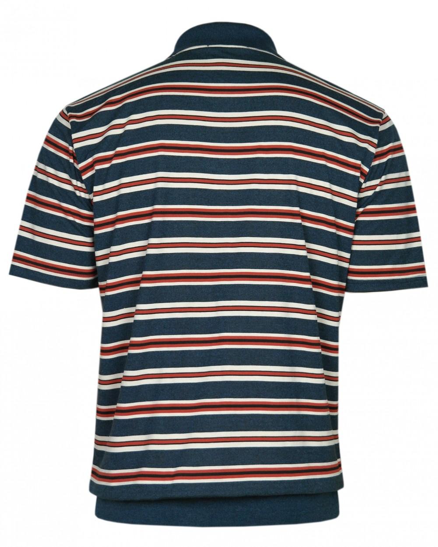 Jersey Blousonshirts im Ringeln-Look - Navy/Hinteransicht