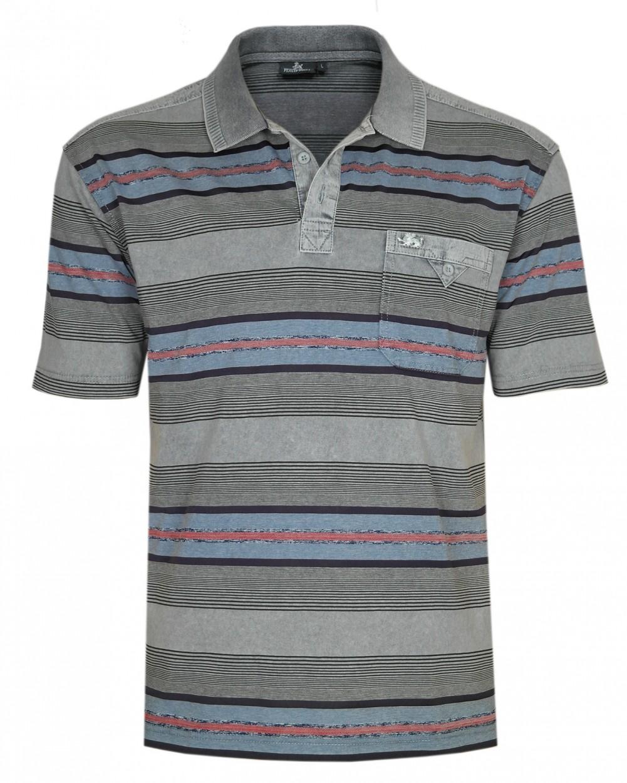 Herren Premium Poloshirts mit kurzer Knopfleiste - Grau