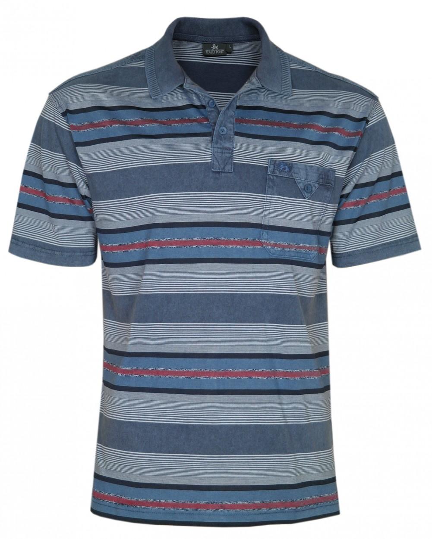 Herren Premium Poloshirts mit kurzer Knopfleiste - Navy