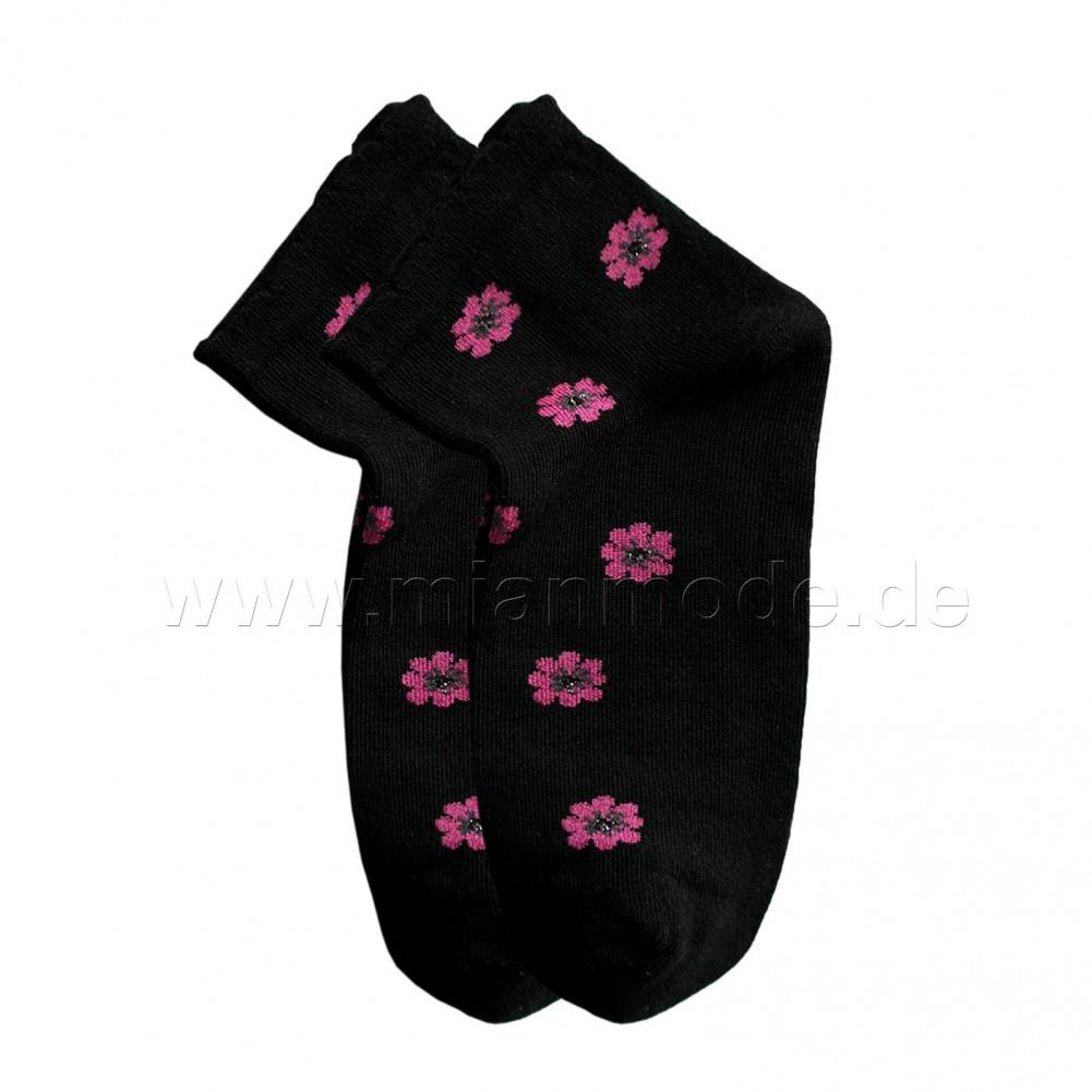 Modische Kurze Socken mit Blümchen - schwarz 38-40