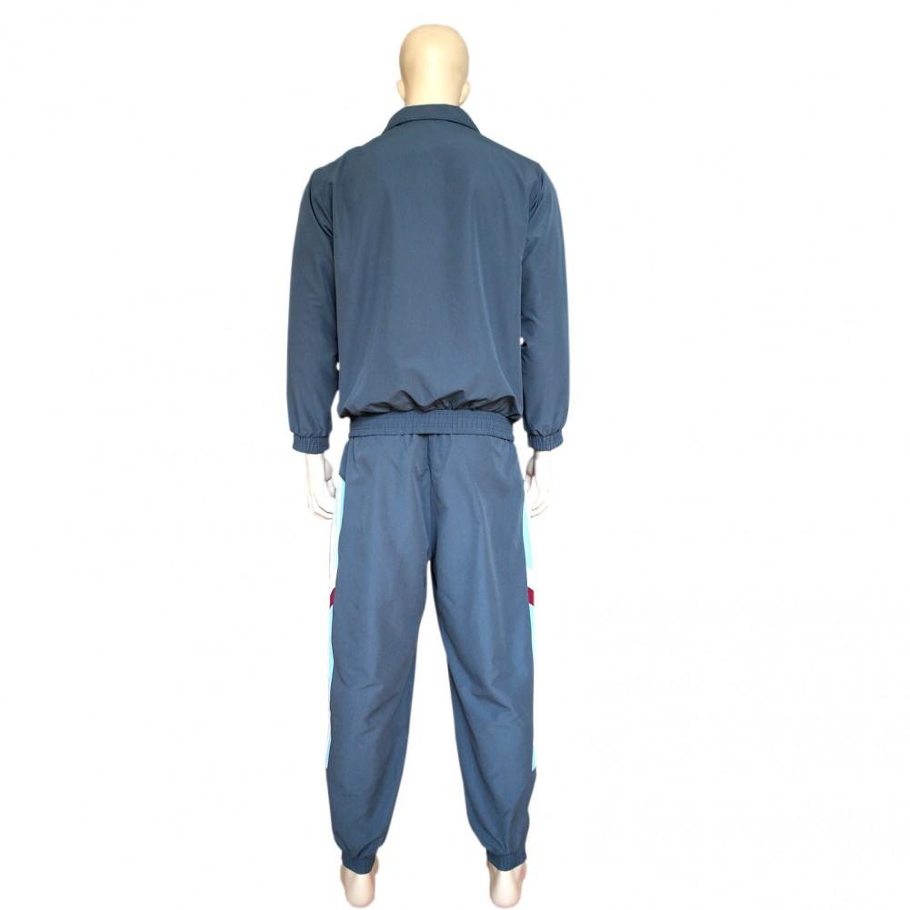 Herren Mikrofaser Sport- Trainingsanzug, gefütterte Jogginganzug mit Bündchen Grau hinteransicht