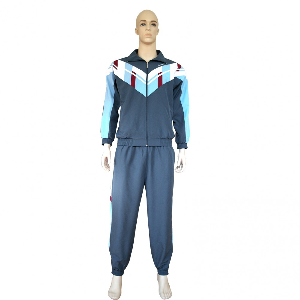 Herren Mikrofaser Sport- Trainingsanzug, gefütterte Jogginganzug mit Bündchen Grau Frontansicht
