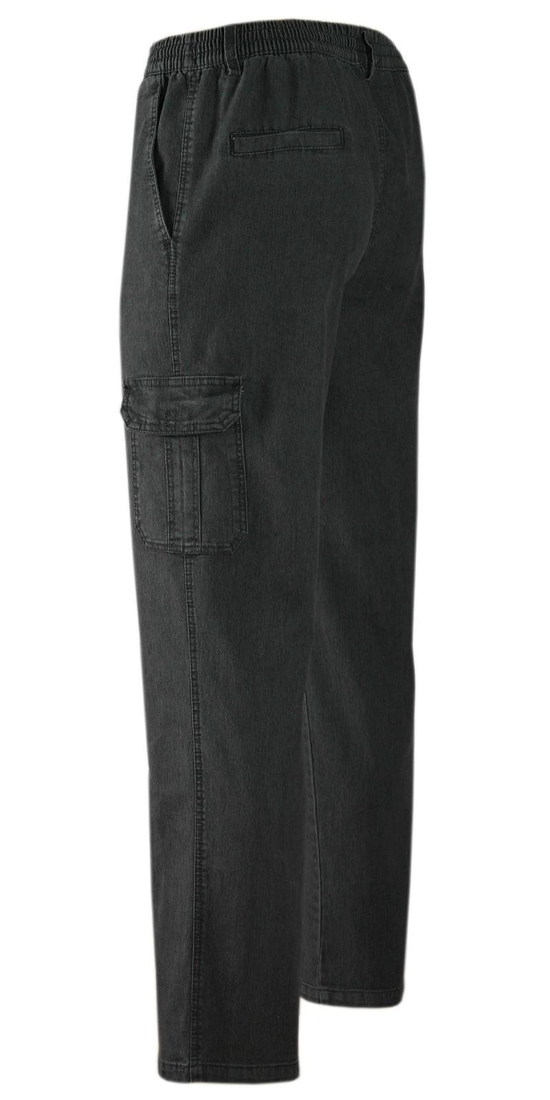 Herren Jeans Stretch Schlupfhose Schlupfjeans Gummizughosen Sommer Kollektion schwarz
