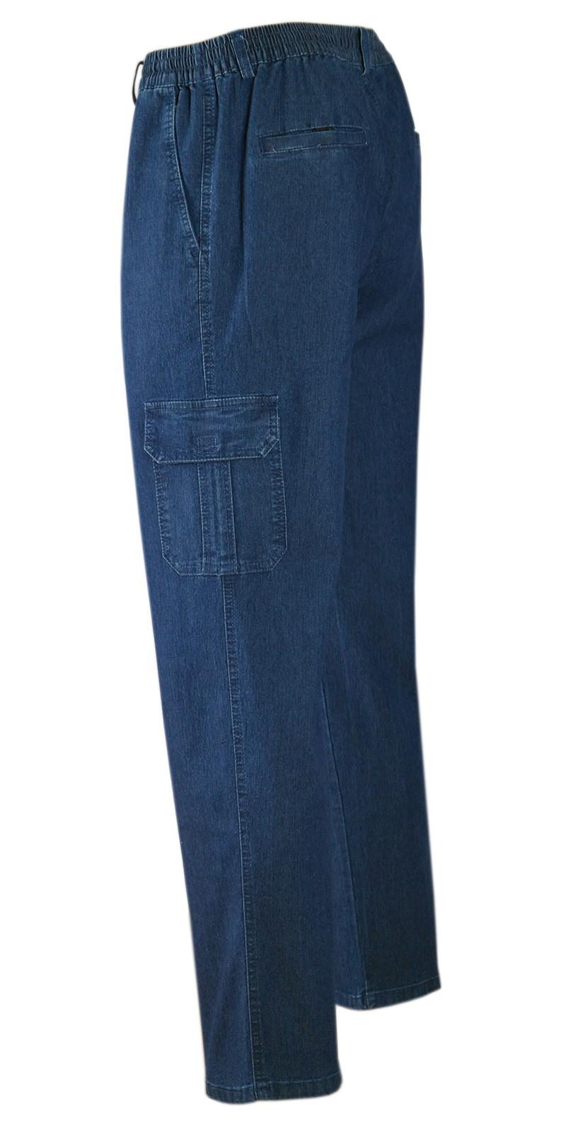 Herren Jeans Stretch Schlupfhose Schlupfjeans Gummizughosen Sommer Kollektion blue