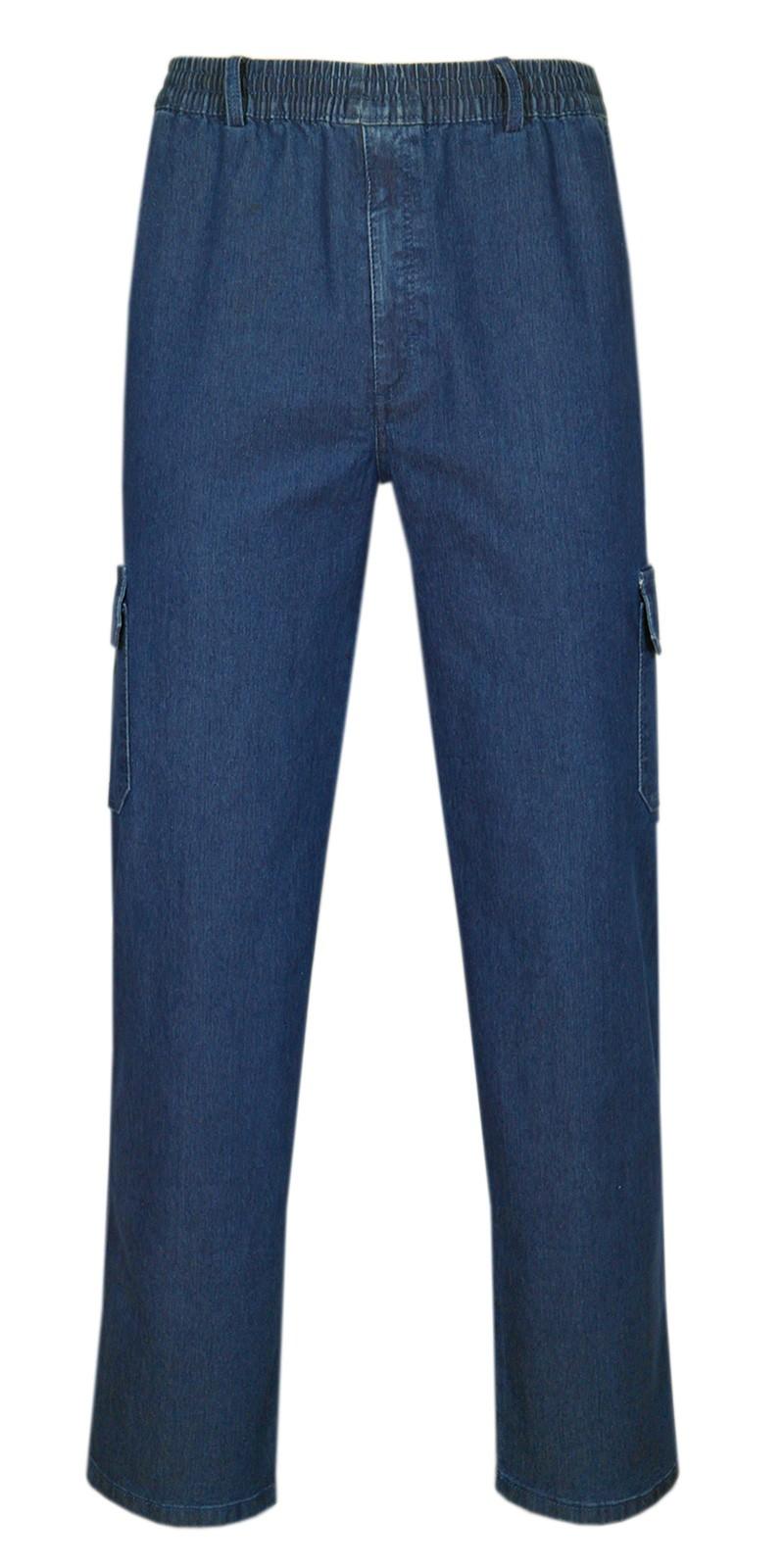 Herren Jeans Stretch Schlupfhose Schlupfjeans mit Gummizug Freizeithose - Blue-Frontansicht