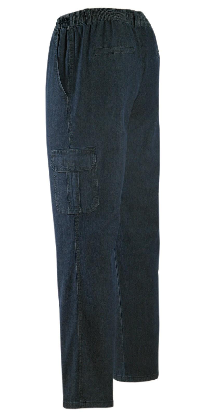 Herren Jeans Stretch Schlupfhose Schlupfjeans Gummizughosen Sommer Kollektion dunkelblau