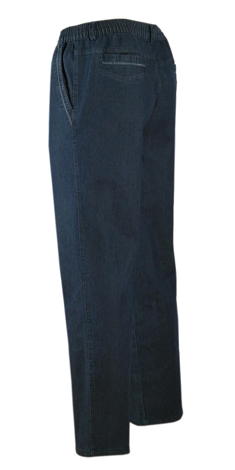 Herren Jeans Stretch Schlupfhose Schlupfjeans ohne Cargo-Taschen dunkelblau