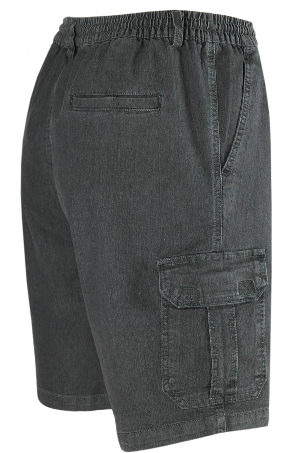 Herren Schlupf-Jeans Shorts kurze Hose aus Stretch Baumwolle - Black