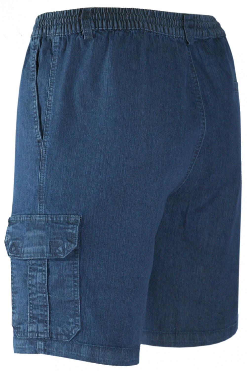 Herren Schlupf-Jeans Shorts kurze Hose aus Stretch Baumwolle - Dark Blue/Setenansicht