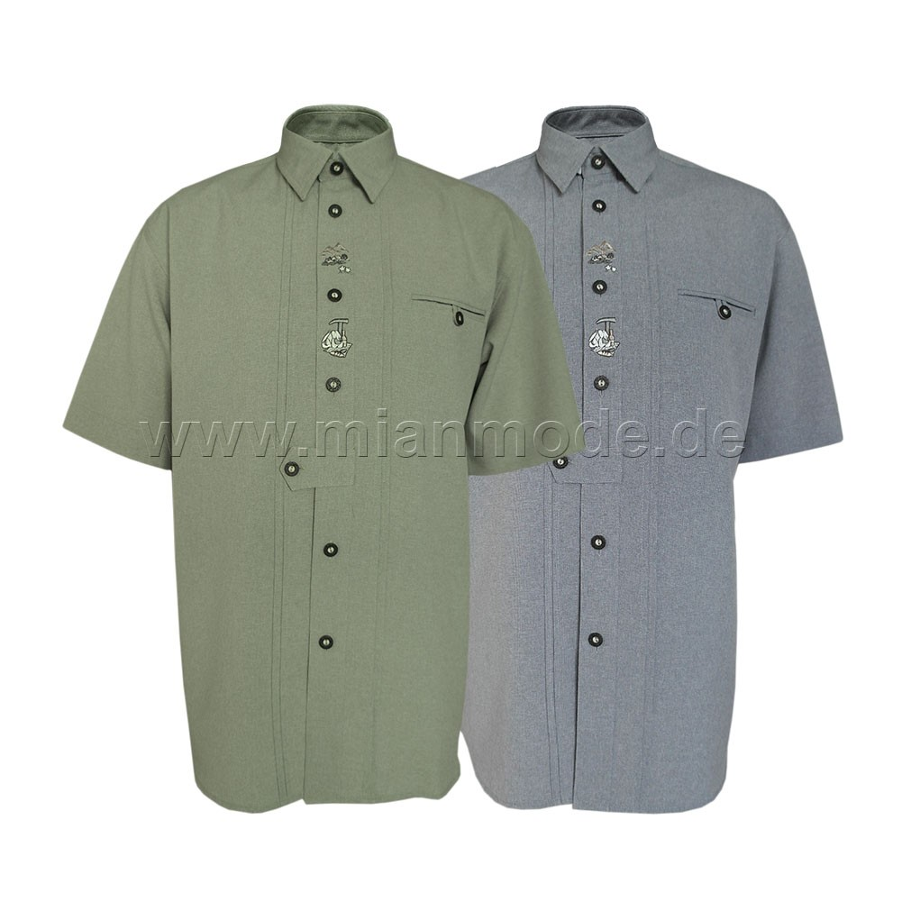 Trachtenhemd, Hemd mit kurzer Ärmel und Stickerei - 2 Farben
