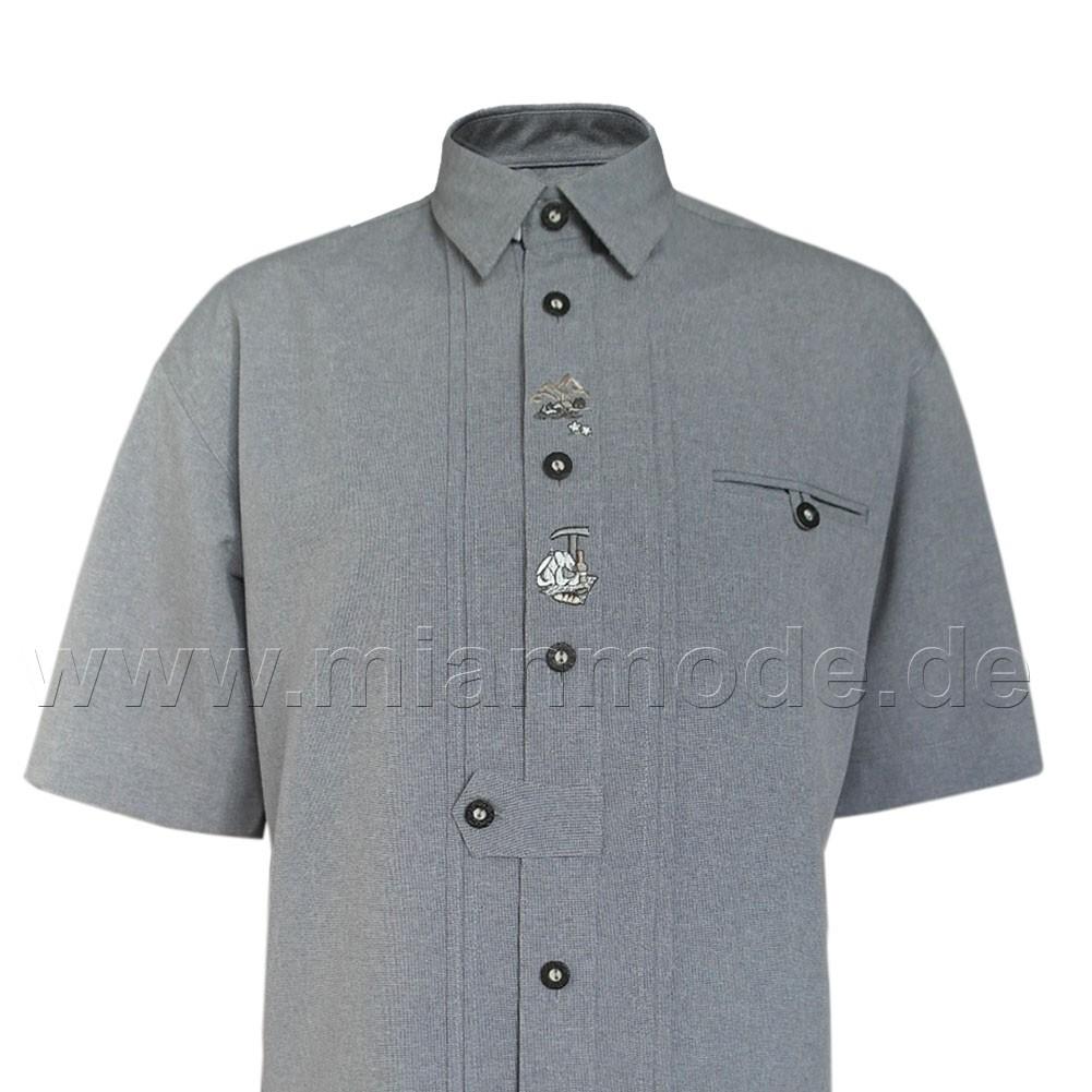 Trachtenhemd, Hemd mit kurzer Ärmel und Stickerei - Grau front ansicht
