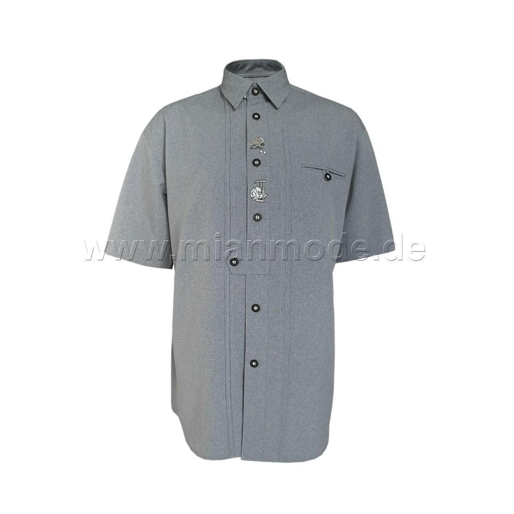 Trachtenhemd, Hemd mit kurzer Ärmel und dezente Stickerei - Grau