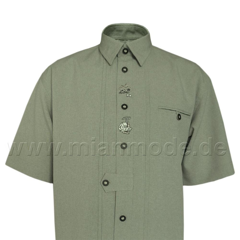 Trachtenhemd, Hemd mit kurzer Ärmel und Stickerei - Grün front ansicht