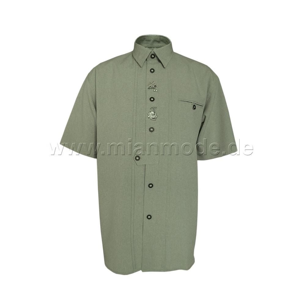 Trachtenhemd, Hemd mit kurzer Ärmel und dezente Stickerei - Grün