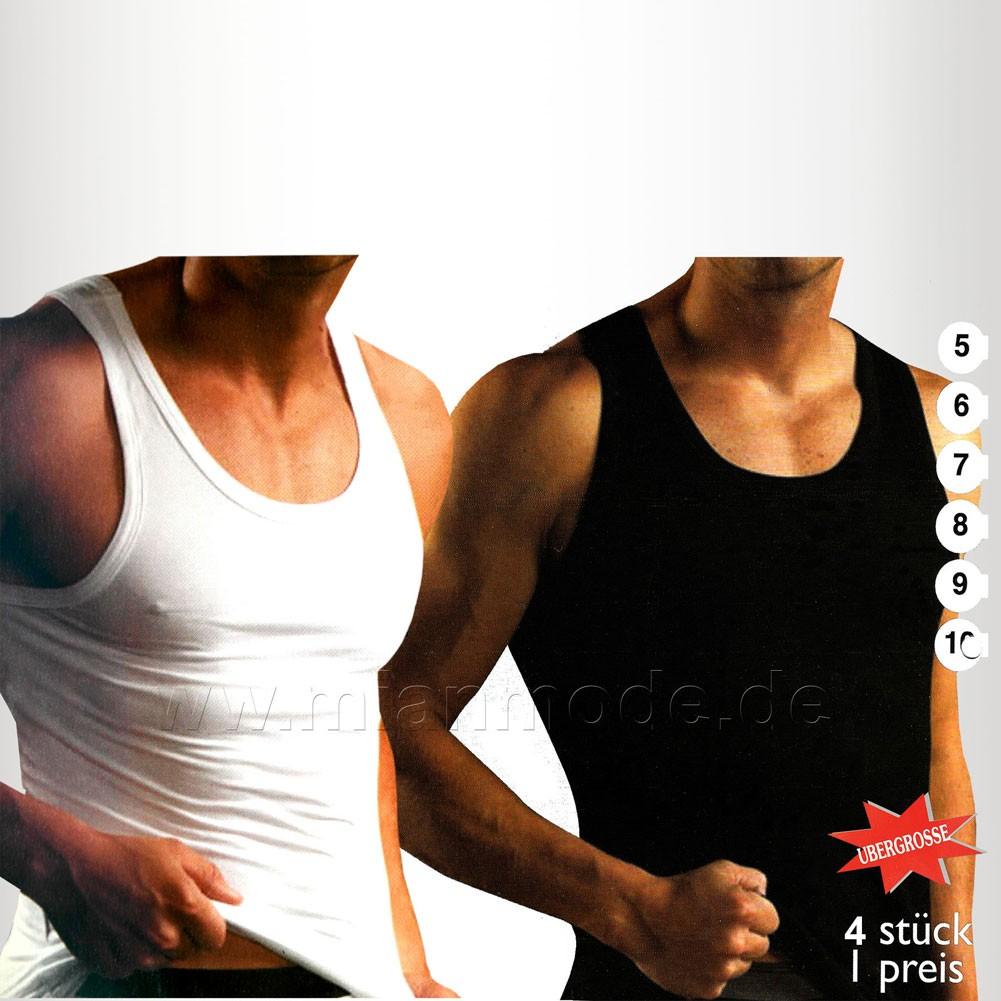 4er Pack Feinripp Herren Unterhemd weiss oder schwarz 100% Baumwolle