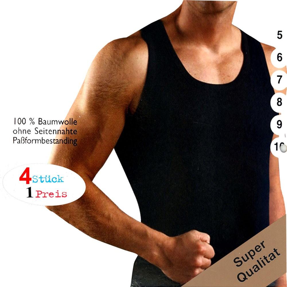 4er Pack Feinripp Herren Unterhemd schwarz 100% Baumwolle
