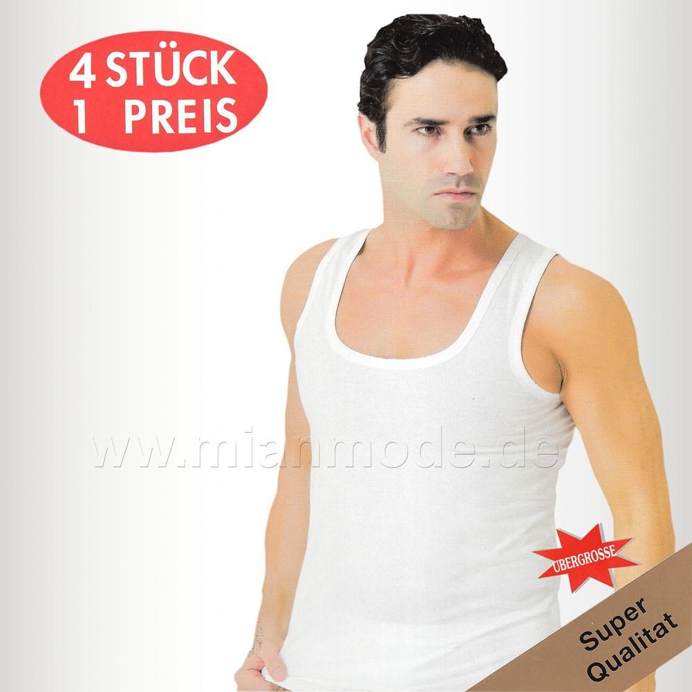 4er Pack Feinripp Herren Unterhemd weiss 100% Baumwolle