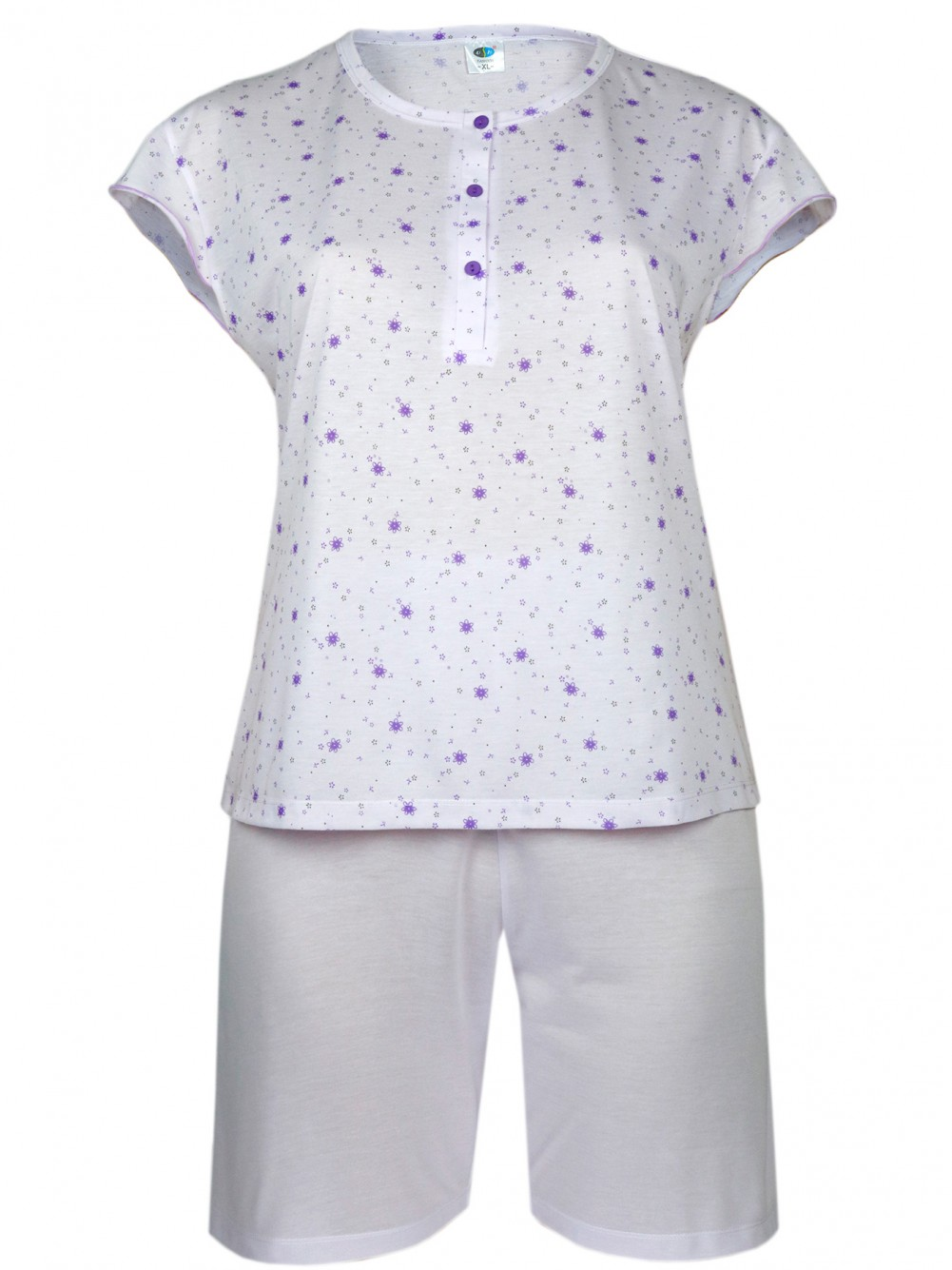 Damen Kurz-Pyjama, Shorty Set 100% Baumwolle - Lila