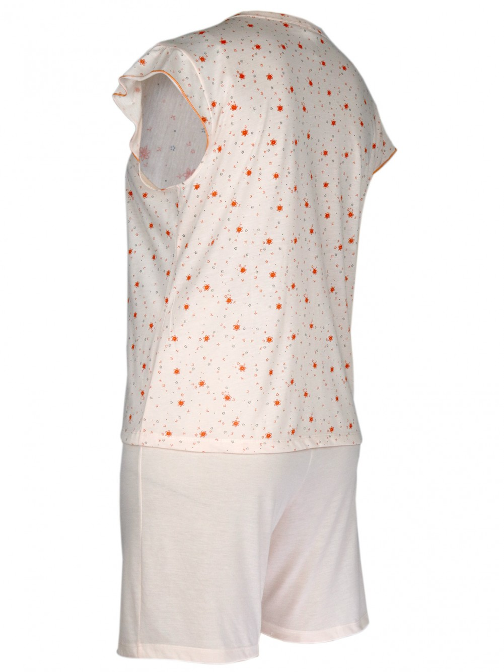 Damen Kurz-Pyjama, Shorty Set 100% Baumwolle - Orange/Seitenansicht