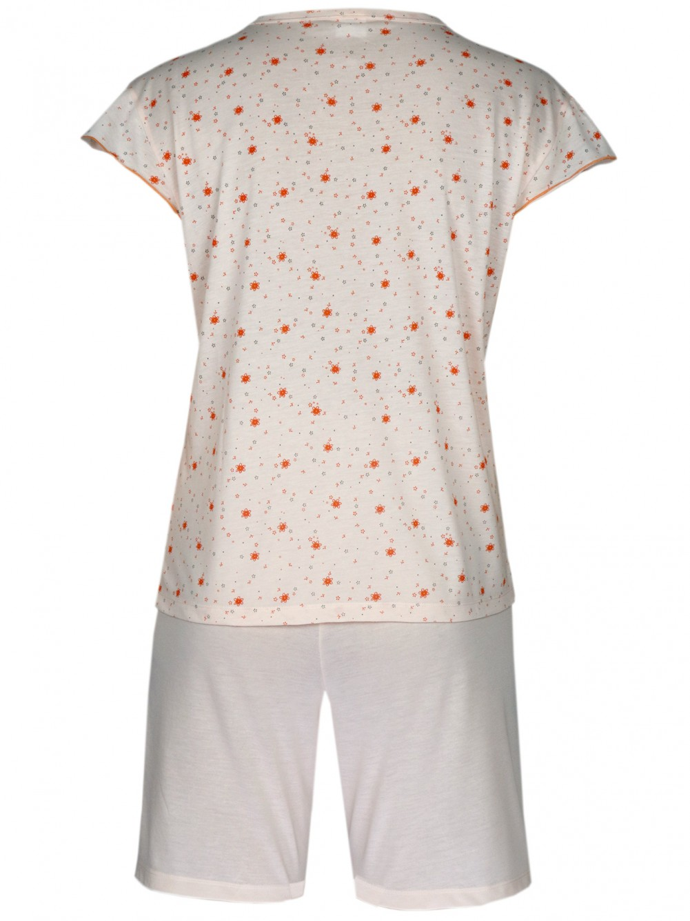 Damen Kurz-Pyjama, Shorty Set 100% Baumwolle - Orange/Hinteransicht