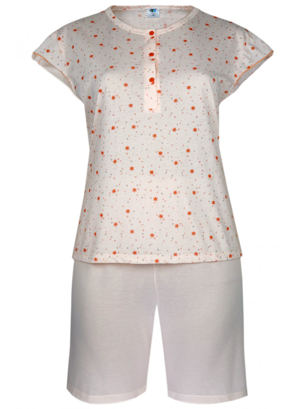 Damen Kurz-Pyjama, Shorty Set 100% Baumwolle - Orange