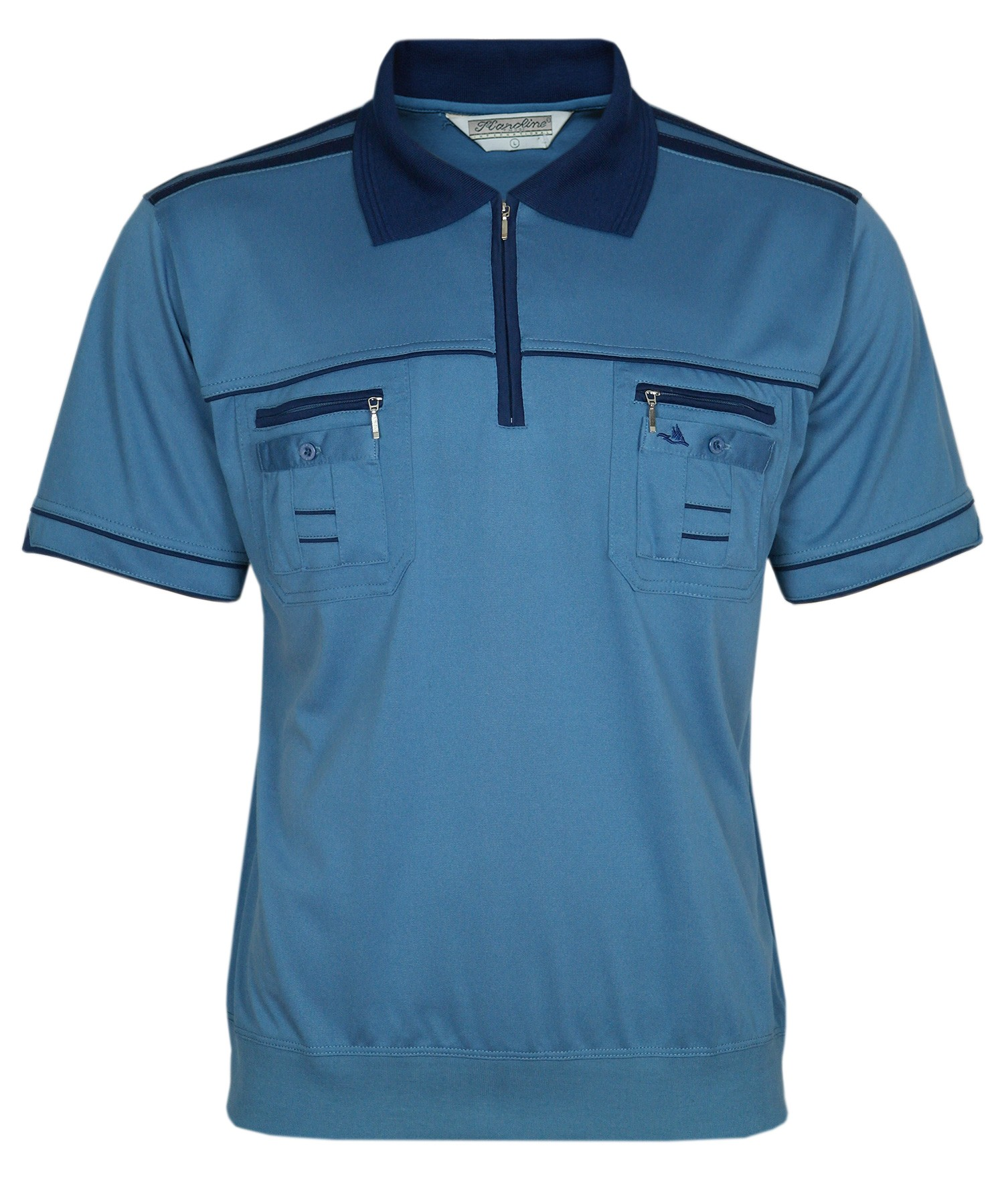 Blousonshirts Poloshirts mit kurzen Ärmeln - Stahlblau