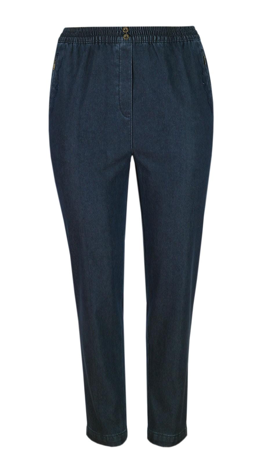 Damen Thermo Stretch Schlupfjeans Schlupfhose gefütterte Winter-Jeans - Navy