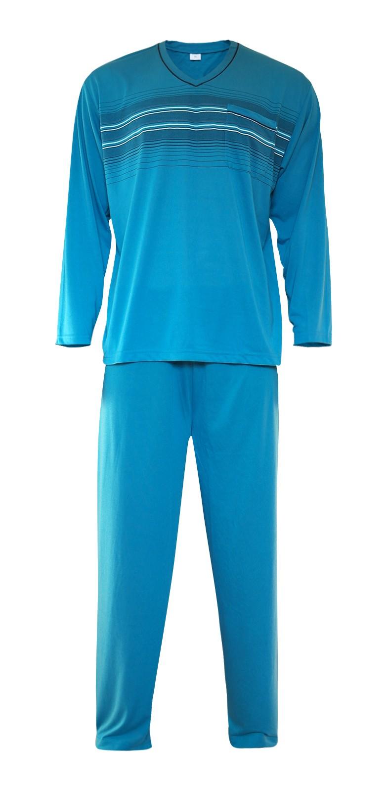 Herren Pyjama Schlafanzug lang 100% Baumwolle V-Neck the new Pajamas Trend